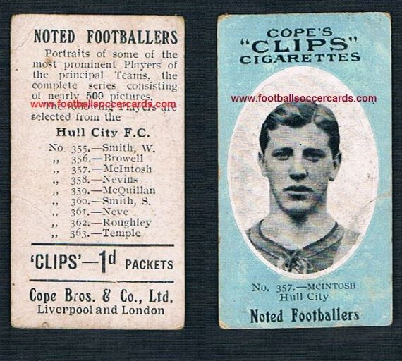 1909 Cope Brothers Noted Footballers 500 series McIntosh Hull City 357
